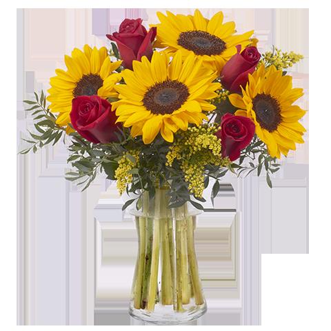 Arranjo com Girassois e Rosas no Vaso de Vidro