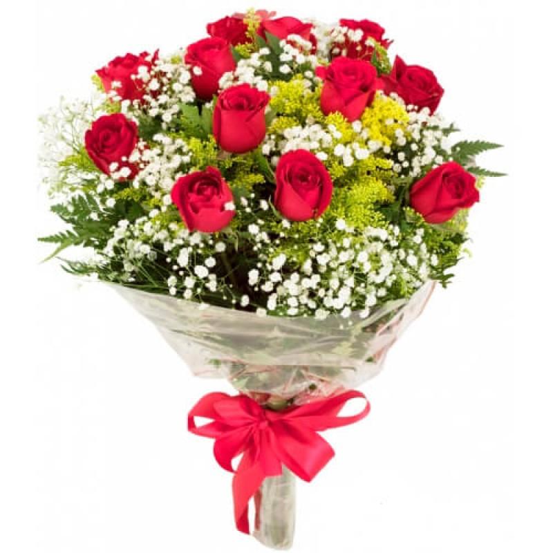 Buquê Tradicional 55cm com 12 Rosas