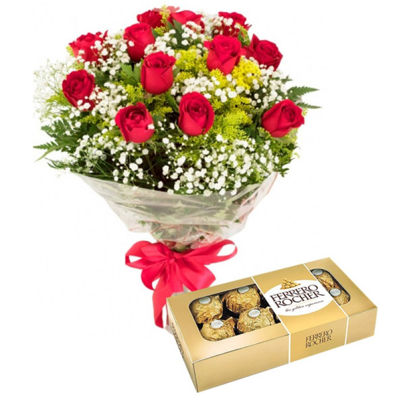 Buquê Tradicional 55cm com 12 Rosa + Ferrero Rocher