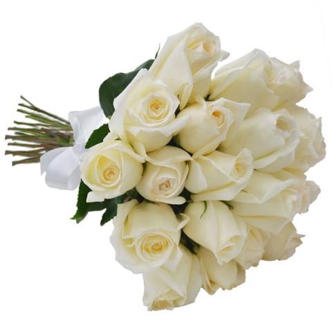 Buquê 45cm com 24 Rosas Brancas