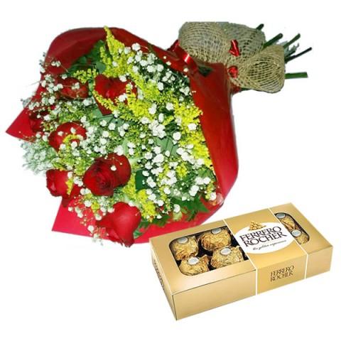 Buquê com 6 Rosas  45cm + Ferrero Rocher
