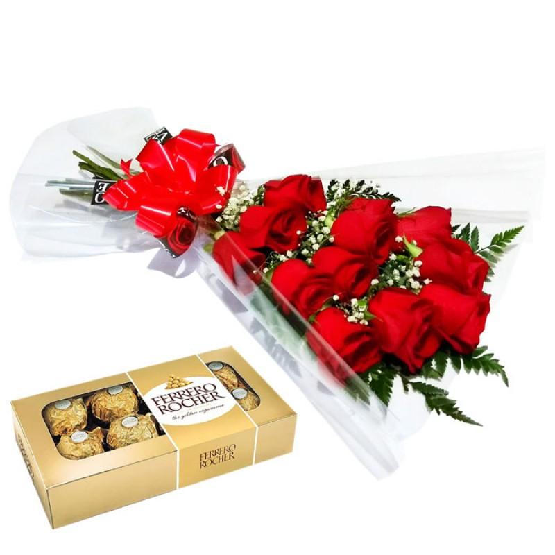 Buquê Deitado 45cm com 12 Rosas IMPORTADAS + Ferrero Rocher