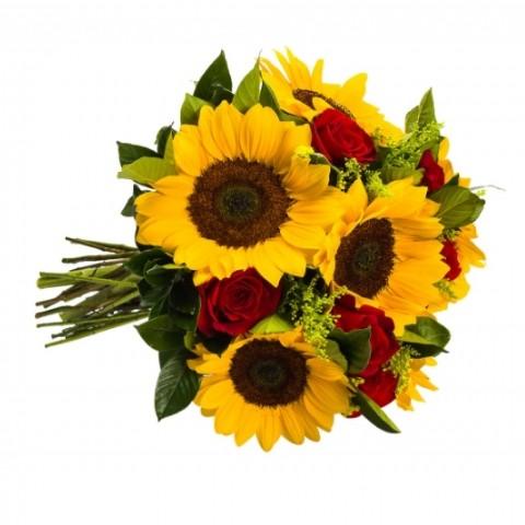 Buquê Raio de Sol com Girassol e Rosas