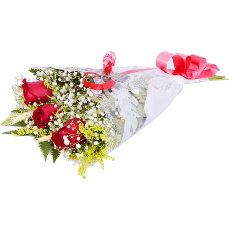 Arranjo com 3 Rosas 35cm