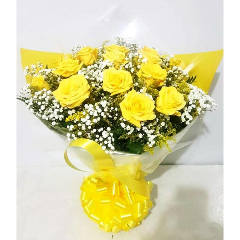 Buquê Tradicional 55cm com 12 Rosas Amarelas