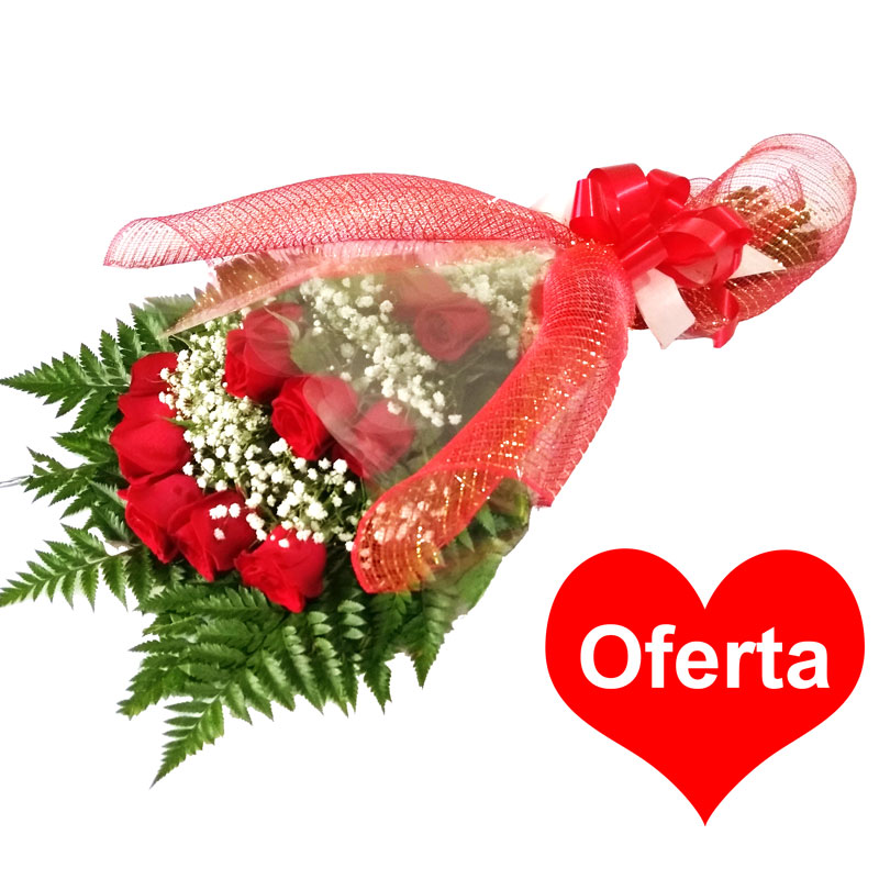 Buquê Love 45cm com 12 Rosas IMPORTADAS