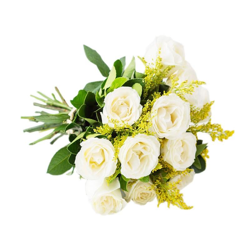 Buquê Simples com 12 Rosas Brancas