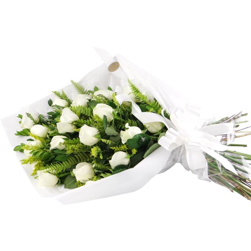 Buquê Deitado 45cm com 16 Rosas Brancas